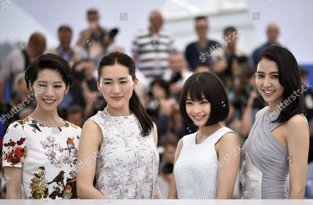 (l-r) Japanese Actress Kaho Japanese Actress Haruka Ayase Japanese Actress Suzu Hirose and Japanese Actress Masami Nagasawa Pose During the Photocall For 'Umimachi Diary' (our Little Sister) at the 68th Annual Cannes Film Festival in Cannes France 14 May 2015 the Movie is Presented in the Official Competition of the Festival Which Runs From 13 to 24 May France Cannes