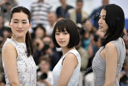 Japanese Actress Haruka Ayase (l) Japanese Actress Suzu Hirose (c) and Japanese Actress Masami Nagasawa (r) Pose During the Photocall For 'Umimachi Diary' (our Little Sister) at the 68th Annual Cannes Film Festival in Cannes France 14 May 2015 the Movie is Presented in the Official Competition of the Festival Which Runs From 13 to 24 May France Cannes