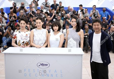 (l-r) Japanese Actress Kaho Japanese Actress Haruka Ayase Japanese Actress Suzu Hirose Japanese Actress Masami Nagasawa and Japanese Director Hirokazu Kore-eda Pose During the Photocall For 'Umimachi Diary' (our Little Sister) at the 68th Annual Cannes Film Festival in Cannes France 14 May 2015 the Movie is Presented in the Official Competition of the Festival Which Runs From 13 to 24 May France Cannes