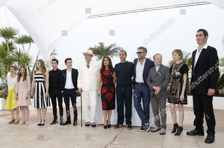 Stock Picture of (l-r) British Actress Hayley Carmichael British Actress Shirley Henderson British Actress Bebe Cave British Actor Jonah Lees British Actor Christian Lees Us Actor John C Reilly Mexican Actress Salma Hayek Italian Director Matteo Garrone French Actor Vincent Cassel British Actor Toby Jones Italian Actress Alba Rohrwacher and French Actor Guillaume Delaunay Pose During the Photocall For 'Il Racconto Dei Racconti' (tale of Tales) at the 68th Annual Cannes Film Festival in Cannes France 14 May 2015 the Movie is Presented in the Official Competition of the Festival Which Runs From 13 to 24 May France Cannes