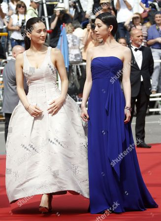 (l-r) Japanese Actress Haruka Ayase and Japanese Actress Kaho Arrive For the Screening of 'Umimachi Diary' (our Little Sister) During the 68th Annual Cannes Film Festival in Cannes France 14 May 2015 the Movie is Presented in the Official Competition of the Festival Which Runs From 13 to 24 May France Cannes
