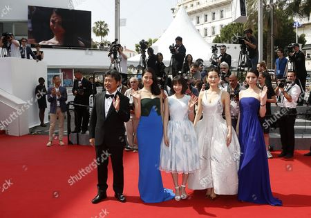 (l-r) Japanese Director Hirokazu Kore-eda Japanese Actress Masami Nagasawa Japanese Actress Suzu Hirose Japanese Actress Haruka Ayase and Japanese Actress Kaho Arrive For the Screening of 'Umimachi Diary' (our Little Sister) During the 68th Annual Cannes Film Festival in Cannes France 14 May 2015 the Movie is Presented in the Official Competition of the Festival Which Runs From 13 to 24 May France Cannes