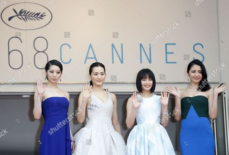 (l-r) Japanese Actress Kaho Japanese Actress Haruka Ayase Japanese Actress Suzu Hirose and Japanese Actress Masami Nagasawa Arrive For the Screening of 'Umimachi Diary' (our Little Sister) During the 68th Annual Cannes Film Festival in Cannes France 14 May 2015 the Movie is Presented in the Official Competition of the Festival Which Runs From 13 to 24 May France Cannes