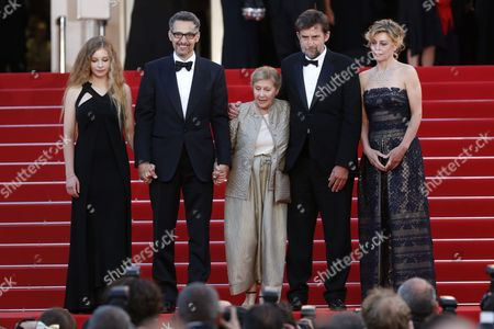 (l-r) Italian Actress Beatrice Mancini Us Actor John Turturro Italian Actress Giulia Lazzarini Italian Director Nanni Moretti and Italian Actress Margherita Buy Leave the Screening of 'Mia Madre' (my Mother) During the 68th Annual Cannes Film Festival in Cannes France 16 May 2015 the Movie was Presented in the Official Competition of the Festival Which Runs From 13 to 24 May France Cannes