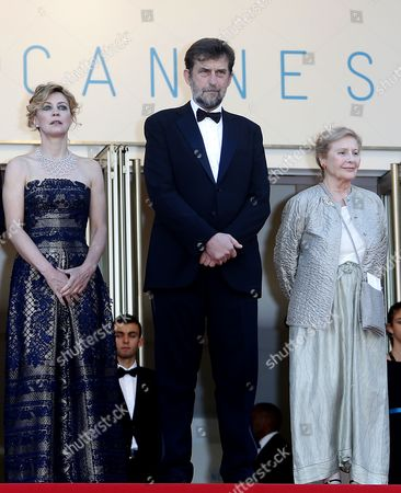 (l-r) Italian Actress Margherita Buy Italian Director Nanni Moretti and Italian Actress Giulia Lazzarini Arrive For the Screening of 'Mia Madre' (my Mother) During the 68th Annual Cannes Film Festival in Cannes France 16 May 2015 the Movie is Presented in the Official Competition of the Festival Which Runs From 13 to 24 May France Cannes