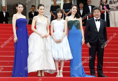 (l-r) Japanese Actress Kaho Japanese Actress Haruka Ayase Japanese Actress Suzu Hirose Japanese Actress Masami Nagasawa and Japanese Director Hirokazu Kore-eda Arrive For the Screening of 'Umimachi Diary' (our Little Sister) During the 68th Annual Cannes Film Festival in Cannes France 14 May 2015 the Movie is Presented in the Official Competition of the Festival Which Runs From 13 to 24 May France Cannes