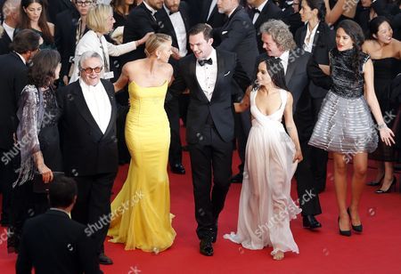 (l-r) Margaret Ann Sixel Australian Director George Miller South-african Actress Charlize Theron British Actor Nicholas Hoult Us Actress Zoe Kravitz Us Producer Doug Mitchell and Australian Actress Courtney Eaton Arrive For the Screening of 'Mad Max: Fury Road' During the 68th Annual Cannes Film Festival in Cannes France 14 May 2015 the Movie is Presented out of Competition at the Festival Which Runs From 13 to 24 May France Cannes