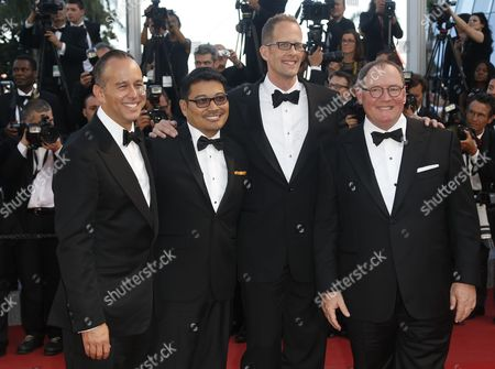 Stock Photo of (l-r) Us Producer Jonas Riviera Philippino Co-director Ronnie Del Carmen Us Director Pete Docter and Disney Pixar Ceo John Lasseter Arrive For the Screening of 'Inside Out' During the 68th Annual Cannes Film Festival in Cannes France 18 May 2015 the Movie is Presented out of Competition at the Festival Which Runs From 13 to 24 May France Cannes