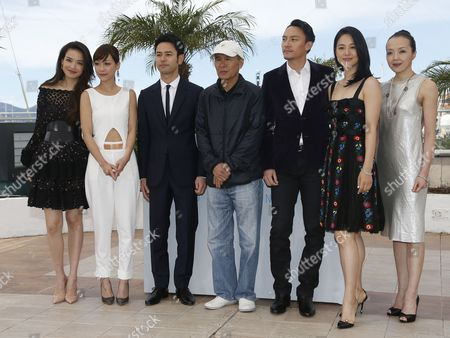 (l-r) Taiwanese Actress Shu Qi Taiwanese Actress Hsieh Hsin-ying Japanese Actor Tsumabuki Satoshi Taiwanese Director Hou Hsiao-hsien Taiwanese Actor Chang Chen Chinese Actress Zhou Yun and Taiwanese Actress Sheu Fang-yi Pose During the Photocall For 'Nie Yinniang' (the Assassin) at the 68th Annual Cannes Film Festival in Cannes France 21 May 2015 the Movie is Presented in the Official Competition of the Festival Which Runs From 13 to 24 May France Cannes