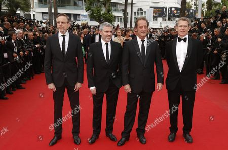 (l-r) Producer Christophe Rossignon French Director Stephane Brize French Actor Vincent Lindon and Guest Arrive For the Screening of 'La Glace Et Le Ciel' (ice and the Sky) and the Closing Award Ceremony of the 68th Annual Cannes Film Festival in Cannes France 24 May 2015 the Festival Closes with the Screening of the Movie Presented out of Competition France Cannes