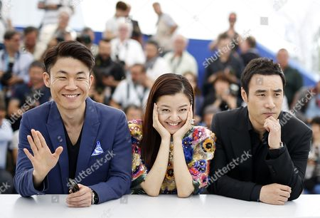 Stock Picture of (l-r) South Korean Director Hong Won-chan South Korean Actress Ko Ah-sung and South Korean Actor Bae Sung-woo Pose During the Photocall For 'O Piseu' (office) During the 68th Annual Cannes Film Festival in Cannes France 19 May 2015 the Movie is Presented in the Section Midnight Screenings at the Festival Which Runs From 13 to 24 May France Cannes