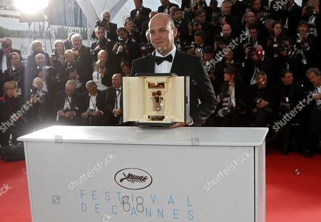 Colombian Director Cesar Augusto Acevedo Poses with the Golden Camera Award For 'La Tierra Y La Sombra' During the Award Winners Photocall at the 68th Annual Cannes Film Festival in Cannes France 24 May 2015 France Cannes