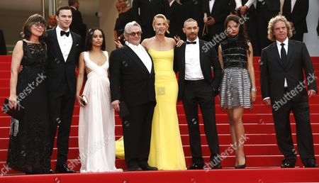 (l-r) Margaret Ann Sixel British Actor Nicholas Hoult Us Actress Zoe Kravitz Australian Director George Miller South-african Actress Charlize Theron Us Actor Tom Hardy Australian Actress Courtney Eaton and Us Producer Doug Mitchell Arrive For the Screening of 'Mad Max: Fury Road' During the 68th Annual Cannes Film Festival in Cannes France 14 May 2015 the Movie is Presented out of Competition at the Festival Which Runs From 13 to 24 May France Cannes