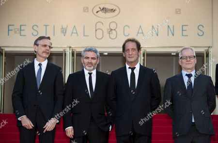 (l-r) Producer Christophe Rossignon French Director Stephane Brize French Actor Vincent Lindon and General Delegate of the Festival Thierry Fremaux Arrive For the Screening of 'La Loi Du Marche' (the Measure of a Man) During the 68th Annual Cannes Film Festival in Cannes France 18 May 2015 the Movie is Presented in the Official Competition of the Festival Which Runs From 13 to 24 May France Cannes