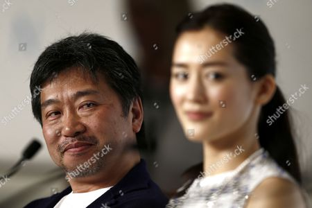 Japanese Director Hirokazu Kore-eda (l) and Japanese Actress Haruka Ayase (r) Attend the Press Conference For 'Umimachi Diary' (our Little Sister) During the 68th Annual Cannes Film Festival in Cannes France 14 May 2015 the Movie is Presented in the Official Competition of the Festival Which Runs From 13 to 24 May France Cannes