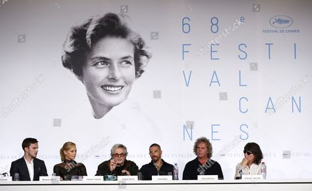 (l-r) British Actor Nicholas Hoult South-african Actress Charlize Theron Australian Director George Miller Us Actor Tom Hardy Us Producer Doug Mitchell and Margaret Ann Sixel Attend the Press Conference For 'Mad Max: Fury Road' During the 68th Cannes Film Festival in Cannes France 14 May 2015 the Movie is Presented out of Competition at the Festival Which Runs From 13 to 24 May France Cannes