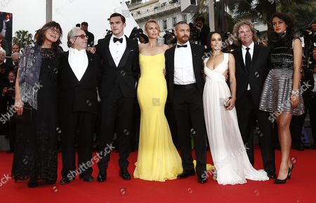 (l-r) Margaret Ann Sixel Australian Director George Miller British Actor Nicholas Hoult South-african Actress Charlize Theron Us Actor Tom Hardy Us Actress Zoe Kravitz Us Producer Doug Mitchell and Australian Actress Courtney Eaton Arrive For the Screening of 'Mad Max: Fury Road' During the 68th Annual Cannes Film Festival in Cannes France 14 May 2015 the Movie is Presented out of Competition at the Festival Which Runs From 13 to 24 May France Cannes