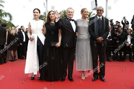 Cinefondation and Short Films Jury Members (l-r) French Director Rebecca Zlotowski Lebanese Director Jonas Hadjithomas Polish Actor Daniel Olbrychski Belgian Actress Cecile De France and Mauritanian Director Abderrahmane Sissako Arrive For the Screening of 'La Glace Et Le Ciel' (ice and the Sky) and the Closing Award Ceremony of the 68th Annual Cannes Film Festival in Cannes France 24 May 2015 the Festival Closes with the Screening of the Movie Presented out of Competition France Cannes