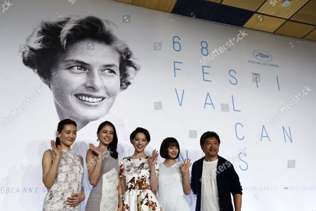 (l-r) Japanese Actress Haruka Ayase Japanese Actress Masami Nagasawa Japanese Actress Kaho Japanese Actress Suzu Hirose and Japanese Director Hirokazu Kore-eda Attend the Press Conference For 'Umimachi Diary' (our Little Sister) During the 68th Annual Cannes Film Festival in Cannes France 14 May 2015 the Movie is Presented in the Official Competition of the Festival Which Runs From 13 to 24 May France Cannes