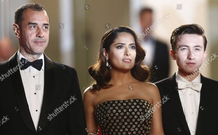 (l-r) Italian Director Matteo Garrone Mexican Actress Salma Hayek and British Actor Christian Lees Arrive For the Screening of 'Il Racconto Dei Racconti' (tale of Tales) During the 68th Annual Cannes Film Festival in Cannes France 14 May 2015 the Movie is Presented in the Official Competition of the Festival Which Runs From 13 to 24 May France Cannes