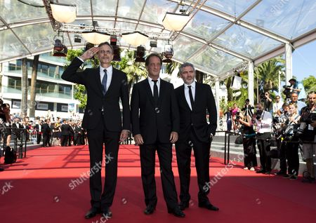 (l-r) Producer Christophe Rossignon French Actor Vincent Lindon and French Director Stephane Brize Arrive For the Screening of 'La Loi Du Marche' (the Measure of a Man) During the 68th Annual Cannes Film Festival in Cannes France 18 May 2015 the Movie is Presented in the Official Competition of the Festival Which Runs From 13 to 24 May France Cannes