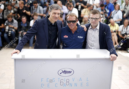 (l-r) British Director Gabriel Clarke Us Actor Chad Mcqueen and Us Director John Mckenna Pose During the Photocall For 'Steve Mcqueen: the Man and Le Mans' at the 68th Annual Cannes Film Festival in Cannes France 16 May 2015 the Movie is Presented in the Section Cannes Classics of the Festival Which Runs From 13 to 24 May France Cannes