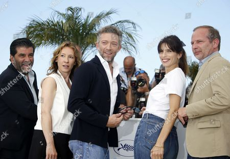(l-r) French Producer Alain Attal French Actress Emmanuelle Bercot French Actor Vincent Cassel French Director Maiwenn and French Screenwriter Etienne Comar Pose During the Photocall For 'Mon Roi' at the 68th Annual Cannes Film Festival in Cannes France 17 May 2015 the Movie is Presented in the Official Competition of the Festival Which Runs From 13 to 24 May France Cannes