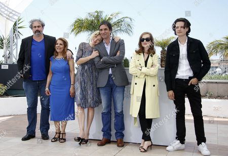 Stock Picture of (l-r) French Actor Gustave Kervern French Italian Actress Valeria Bruni-tedeschi Algerian Actress Tassadit Mandi French Director Samuel Benchetrit French Actress Isabelle Huppert and French Actor Jules Benchetrit Pose During the Photocall For 'Asphalte' (macadam Stories) at the 68th Annual Cannes Film Festival in Cannes France 17 May 2015 the Movie is Presented in the Section Special Screenings of the Festival Which Runs From 13 to 24 May France Cannes