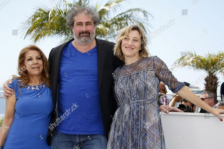 Stock Photo of French Actor Gustave Kervern (c) French Italian Actress Valeria Bruni-tedeschi (r) and Algerian Actress Tassadit Mandi (l) Pose During the Photocall For 'Asphalte' (macadam Stories) at the 68th Annual Cannes Film Festival in Cannes France 17 May 2015 the Movie is Presented in the Section Special Screenings of the Festival Which Runs From 13 to 24 May France Cannes