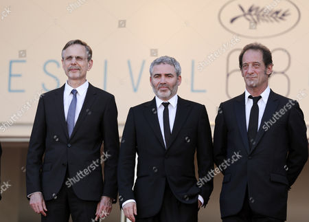 (l-r) Producer Christophe Rossignon French Director Stephane Brize and French Actor Vincent Lindon Arrive For the Screening of 'La Loi Du Marche' (the Measure of a Man) During the 68th Annual Cannes Film Festival in Cannes France 18 May 2015 the Movie is Presented in the Official Competition of the Festival Which Runs From 13 to 24 May France Cannes