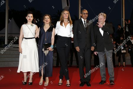(l-r) French Director Rebecca Zlotowski Lebanese Director Jonas Hadjithomas Belgian Actress Cecile De France Mauritanian Director Abderrahmane Sissako and Polish Actor Daniel Olbrychski Arrive For the Screening of 'Shan He Gu Ren' (mountains May Depart) During the 68th Annual Cannes Film Festival in Cannes France 20 May 2015 the Movie is Presented in the Official Competition of the Festival Which Runs From 13 to 24 May France Cannes