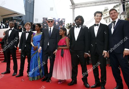 (3l-r) French Actor Marc Zinga French Actor Vincent Rottiers Sri Lankan Actress Kalieaswari Srinivasan French Director Jacques Audiard Sri Lankan Actress Claudine Vinasithamby Sri Lankan Actor Jesuthasan Antonythasan and Guests Arrive For the Screening of 'Dheepan' During the 68th Annual Cannes Film Festival in Cannes France 21 May 2015 the Movie is Presented in the Official Competition of the Festival Which Runs From 13 to 24 May France Cannes