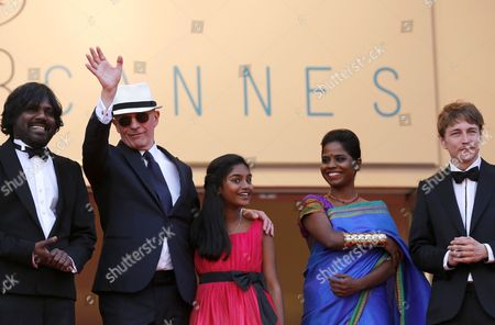 (l-r) Sri Lankan Actor Jesuthasan Antonythasan French Director Jacques Audiard Sri Lankan Actress Claudine Vinasithamby Sri Lankan Actress Kalieaswari Srinivasan and French Actor Vincent Rottiers Arrive For the Screening of 'Dheepan' During the 68th Annual Cannes Film Festival in Cannes France 21 May 2015 the Movie is Presented in the Official Competition of the Festival Which Runs From 13 to 24 May France Cannes