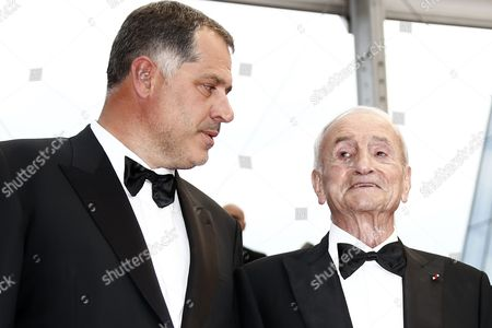 French Director Luc Jacquet (l) and French Glaciologist Claude Lorius (r) Arrive For the Screening of 'La Glace Et Le Ciel' (ice and the Sky) and the Closing Award Ceremony of the 68th Annual Cannes Film Festival in Cannes France 24 May 2015 the Festival Closes with the Screening of the Movie Presented out of Competition France Cannes