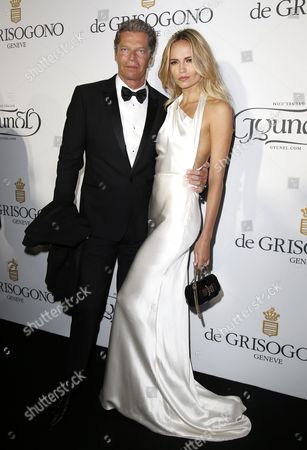 Russian Model Natasha Poly (r) and Husband Peter Bakker (l) Attend the Party Held by Swiss Jewelry Company De Grisogono at the Hotel Du Cap Eden Roc in Cap D'antibes France 19 May 2015 During the 68th Annual Cannes Film Festival the Festival Runs From 13 to 24 May France Cap D'antibes