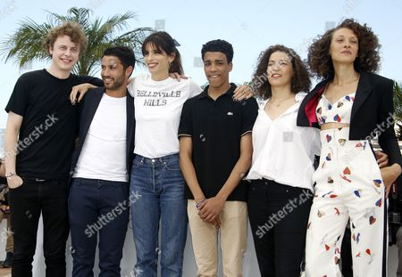 (l-r) French Actor Norman Thavaud French Actor Abdel Addala French Director Maiwenn French Actor Nabil Kechouhen French Actress Amanda Added and French Actress Chrystele Saint Louis Augustin Pose During the Photocall For 'Mon Roi' at the 68th Annual Cannes Film Festival in Cannes France 17 May 2015 the Movie is Presented in the Official Competition of the Festival Which Runs From 13 to 24 May France Cannes
