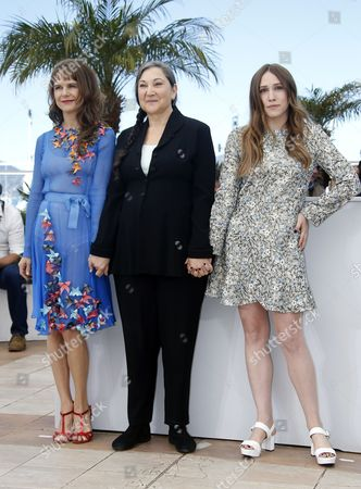 Stock Picture of (l-r) Mexican Actress Nailea Norvind Us Actress Robin Bartlett and Us Actress Sarah Sutherland Pose During the Photocall For 'Chronic' at the 68th Annual Cannes Film Festival in Cannes France 22 May 2015 the Movie is Presented in the Official Competition of the Festival Which Runs From 13 to 24 May France Cannes