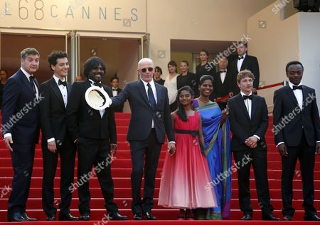 (3l-r) Sri Lankan Actor Jesuthasan Antonythasan French Director Jacques Audiard Sri Lankan Actress Claudine Vinasithamby Sri Lankan Actress Kalieaswari Srinivasan French Actor Vincent Rottiers French Actor Marc Zinga and Guests Arrive For the Screening of 'Dheepan' During the 68th Annual Cannes Film Festival in Cannes France 21 May 2015 the Movie is Presented in the Official Competition of the Festival Which Runs From 13 to 24 May France Cannes