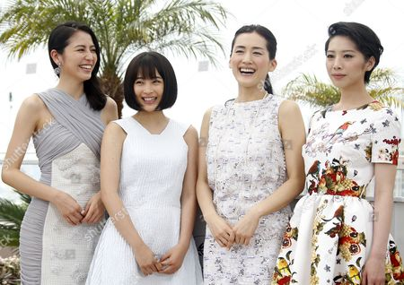 (l-r) Japanese Actress Masami Nagasawa Japanese Actress Suzu Hirose Japanese Actress Haruka Ayase and Japanese Actress Kaho Pose During the Photocall For 'Umimachi Diary' (our Little Sister) at the 68th Annual Cannes Film Festival in Cannes France 14 May 2015 the Movie is Presented in the Official Competition of the Festival Which Runs From 13 to 24 May France Cannes