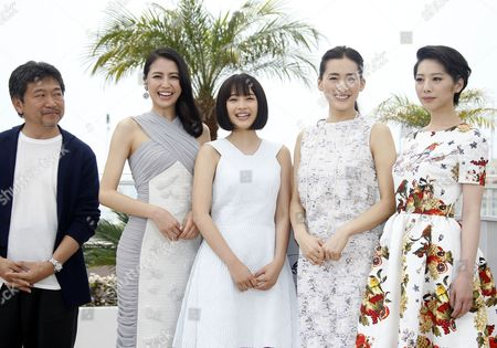 (l-r) Japanese Director Hirokazu Kore-eda Japanese Actress Masami Nagasawa Japanese Actress Suzu Hirose Japanese Actress Haruka Ayase and Japanese Actress Kaho Pose During the Photocall For 'Umimachi Diary' (our Little Sister) at the 68th Annual Cannes Film Festival in Cannes France 14 May 2015 the Movie is Presented in the Official Competition of the Festival Which Runs From 13 to 24 May France Cannes