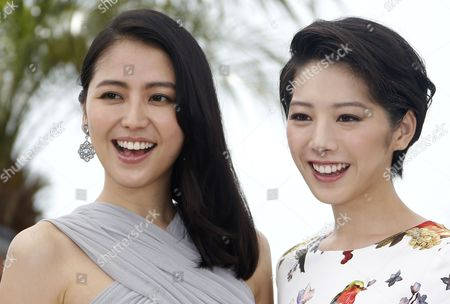 Stock Image of Japanese Actress Masami Nagasawa (l) and Japanese Actress Kaho (r) Pose During the Photocall For 'Umimachi Diary' (our Little Sister) at the 68th Annual Cannes Film Festival in Cannes France 14 May 2015 the Movie is Presented in the Official Competition of the Festival Which Runs From 13 to 24 May France Cannes