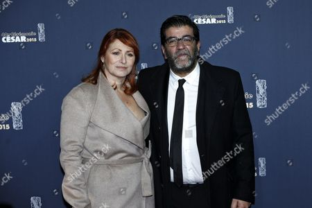 French Producer Alain Attal (r) and Guest Arrive For the 40th Annual Cesar Awards Ceremony Held at the Chatelet Theatre in Paris France 20 February 2015 France Paris