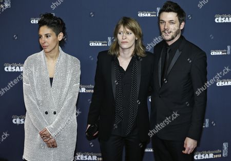 (l-r) Directors Marie Amachoukeli Claire Burger and Samuel Theis Arrive For the 40th Annual Cesar Awards Ceremony Held at the Chatelet Theatre in Paris France 20 February 2015 France Paris