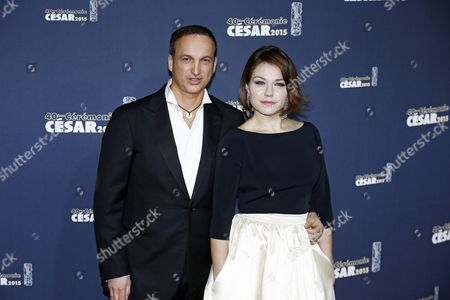 Belgian Actress Emilie Dequenne (r) and Her Partner Michel Ferracci (l) Arrive For the 40th Annual Cesar Awards Ceremony Held at the Chatelet Theatre in Paris France 20 February 2015 France Paris