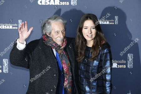 French Actor Jean Rochefort (l) Waves As He Arrives with His Daughter Clemence For the 40th Annual Cesar Awards Ceremony Held at the Chatelet Theatre in Paris France 20 February 2015 France Paris