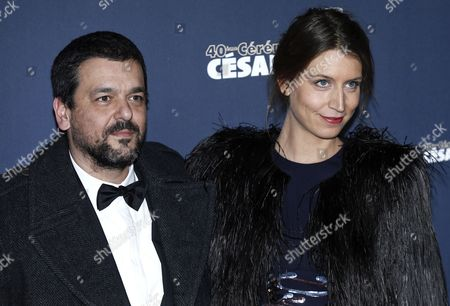 French Director Joann Sfar (l) and Guest Arrive For the 40th Annual Cesar Awards Ceremony Held at the Chatelet Theatre in Paris France 20 February 2015 France Paris