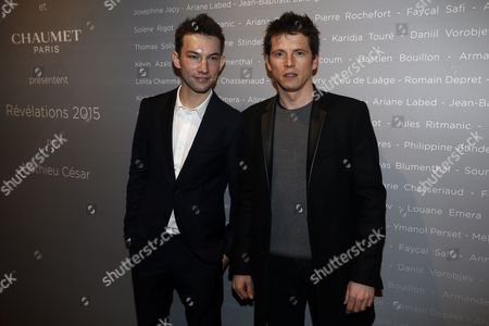 Stock Image of French Actors Kirill Emelyanov (l) and Pierre Deladonchamps Pose For the Photographers During a Photocall For the Cesars 'Revelations 2015' Evening at the Salons Chaumet in Paris France 12 January 2015 the Event Organized by the French Academy of Cinema Arts and Techniques' Newcomers Committee and the Governing Board Presents the Best New Young Actors and Actresses the 40th Annual Cesar Awards Ceremony is Held on 20 February France Paris