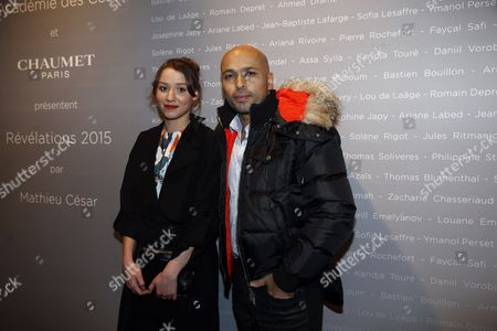 French Actress Philippine Stindel (l) and French Actor Eric Judor Pose For the Photographers During a Photocall For the Cesars 'Revelations 2015' Evening at the Salons Chaumet in Paris France 12 January 2015 the Event Organized by the French Academy of Cinema Arts and Techniques' Newcomers Committee and the Governing Board Presents the Best New Young Actors and Actresses the 40th Annual Cesar Awards Ceremony is Held on 20 February France Paris
