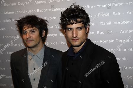 French Actors Felix De Givry (l) and Louis Garrel Pose For the Photographers During a Photocall For the Cesars 'Revelations 2015' Evening at the Salons Chaumet in Paris France 12 January 2015 the Event Organized by the French Academy of Cinema Arts and Techniques' Newcomers Committee and the Governing Board Presents the Best New Young Actors and Actresses the 40th Annual Cesar Awards Ceremony is Held on 20 February France Paris