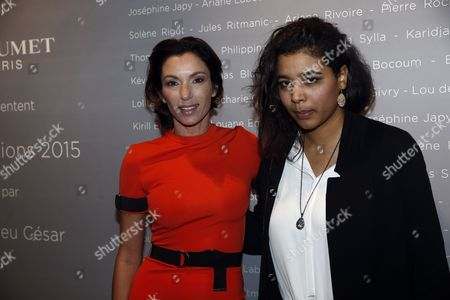 Stock Image of French Actresses Soumaye Bocoum (r) and Aure Atika Pose For the Photographers During a Photocall For the Cesars 'Revelations 2015' Evening at the Salons Chaumet in Paris France 12 January 2015 the Event Organized by the French Academy of Cinema Arts and Techniques' Newcomers Committee and the Governing Board Presents the Best New Young Actors and Actresses the 40th Annual Cesar Awards Ceremony is Held on 20 February France Paris